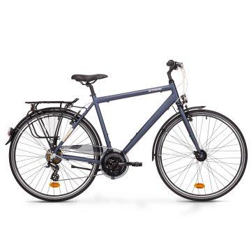Btwin Sportieve stadsfiets Hoprider 100 hoog frame blauw