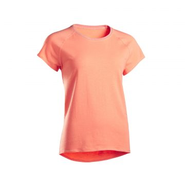 Domyos Dames T-shirt in biokatoen voor zachte yoga