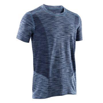 Domyos Naadloos heren T-shirt met korte mouwen voor dynamische yoga gemêleerd