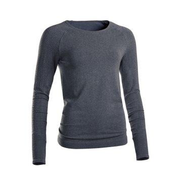 Domyos Naadloos shirt met lange mouwen voor zachte yoga grijs