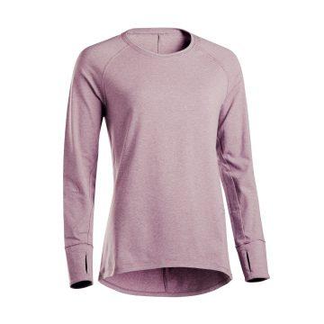 Domyos Shirt met lange mouwen in biokatoen zachte yoga
