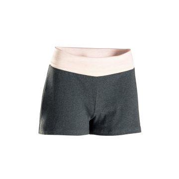 Domyos Short voor zachte yoga dames biologisch katoen zwart/gemêleerd