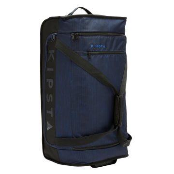 Kipsta Trolley sporttas Essentiel 70 liter zwart/marineblauw