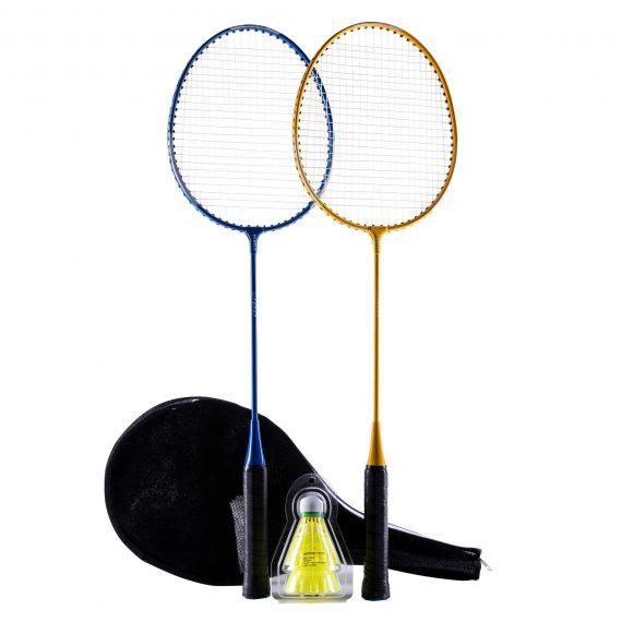 Perfly Badmintonracket set BR100 Starter geel/blauw