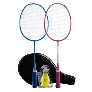 Perfly Badmintonset voor kinderen blauw/roze