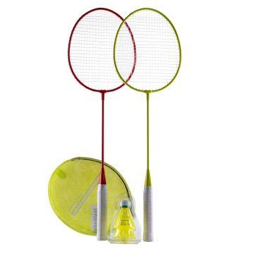 Perfly Badmintonset voor volwassenen Set Discover rood/geel