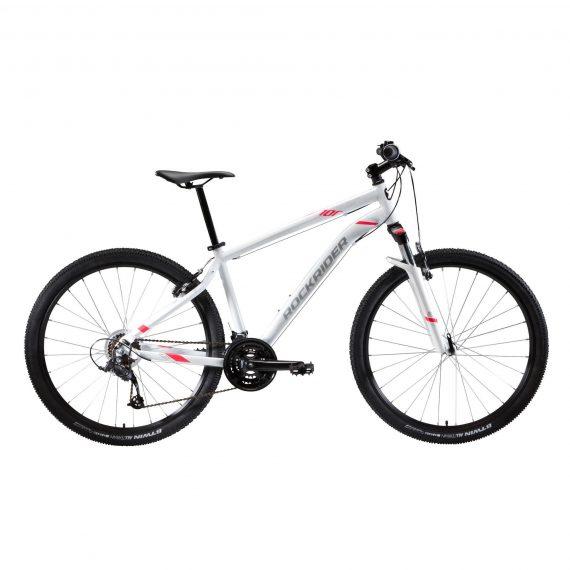 "Rockrider Mountainbike dames ST 100 27.5"" 3x7 speed microshift/shimano wit/roze"