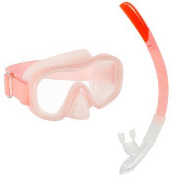 Subea Snorkelset kind met duikbril en snorkel SNK 520 licht koraalrood