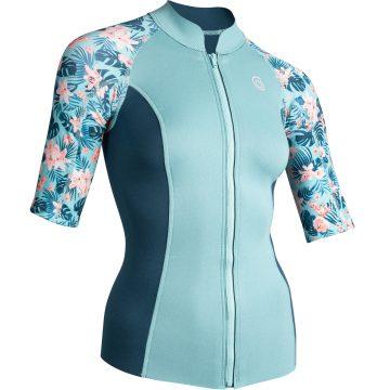 Subea Thermische top in neopreen 500 korte mouwen dames turquoise