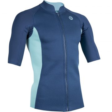 Subea Thermische top in neopreen 500 korte mouwen heren navy turquoise