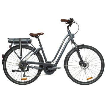Btwin Elektrische fiets / E-bike dames Elops 940 E stadsfiets laag frame antraciet