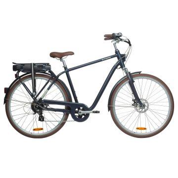 Btwin Elektrische fiets / E-bike heren Elops 900 E stadsfiets marineblauw