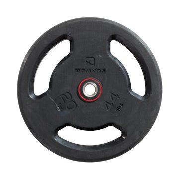 Domyos Halterschijf met handgrepen 28 mm rubber 20 kg