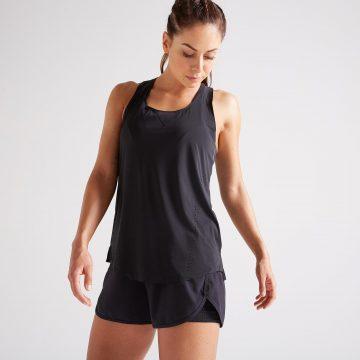 Domyos 2-in-1 damesshort voor fitness en cardiotraining zwart 900