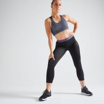 Domyos 7/8-legging voor cardiofitness dames 100 zwart