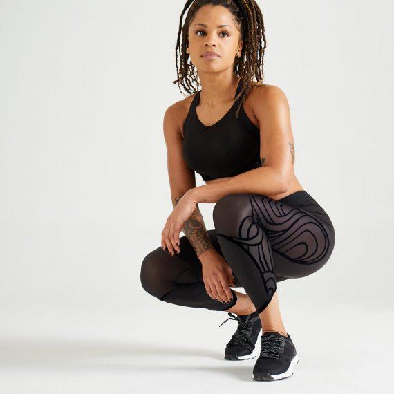 Domyos 7/8-legging voor cardiofitness dames 921 zwart