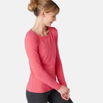 Domyos Dames-T-shirt met lange mouwen voor pilates en lichte gym 100 roze
