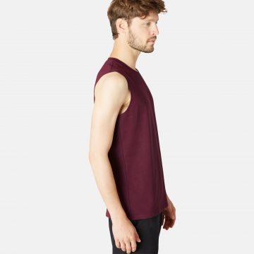 Domyos Mouwloos shirt 500 voor heren bordeaux