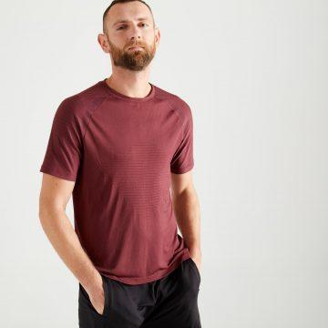 Domyos T-shirt voor cardiofitness heren 900 bordeauxrood