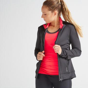 Domyos Vest voor cardiofitness dames 100 zwart/roze