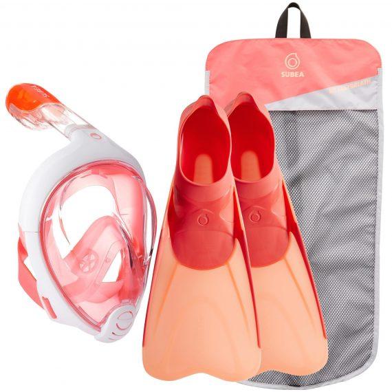 Subea Snorkelset Easybreath en snorkelvinnen koraal roze