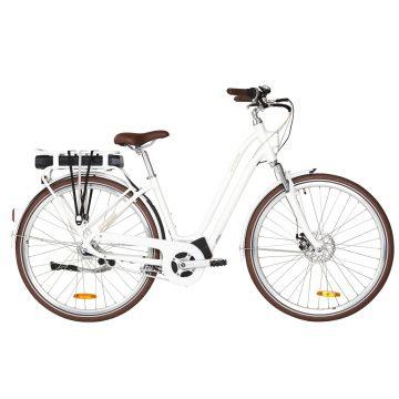 Elops Elektrische fiets / E-bike dames Elops 920 stadsfiets laag frame wit